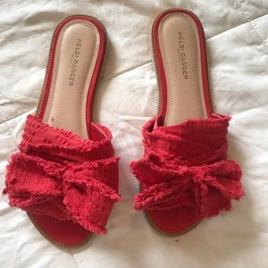 Red sandals worn once